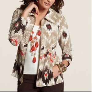 Chico's Zenergy Tribal Neema Ikat Full Zip Jacket